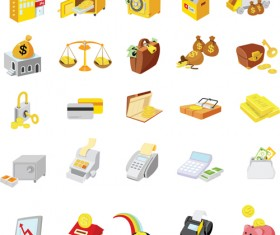 Bright finance Icons elements vector