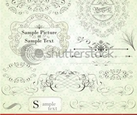 Set of Calligraphic vintage Borders and label vector 01