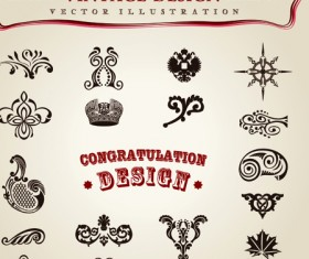 Set of Calligraphic vintage Borders and label vector 07