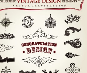 Set of Calligraphic vintage Borders and label vector 08