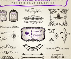 Set of Calligraphic vintage Borders and label vector 09
