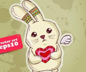 Funny Cartoon bunny vector 01