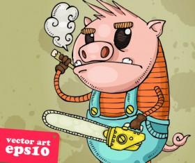 Funny Cartoon Piggy vector 03