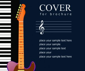 Music brochure Cover vector background 02