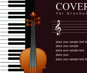 Music brochure Cover vector background 03