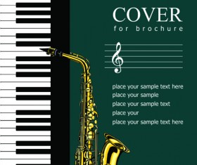 Music brochure Cover vector background 05