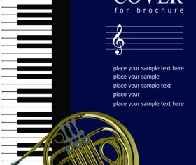 Music brochure Cover vector background 06
