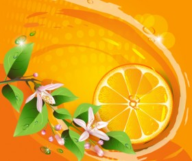 Elements of Lemon and flowers vector 01