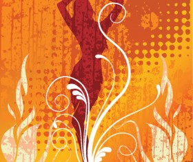 Set of Abstract Fire vector background 01