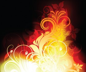 Set of Abstract Fire vector background 06