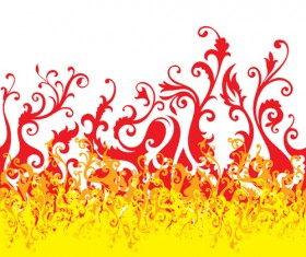 Set of Abstract Fire vector background 08