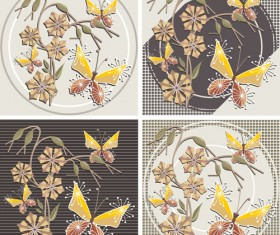 Floral and Butterfly Vintage Backgrounds Vector