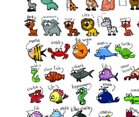 Set of funny animals vector 03