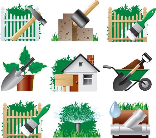 Garden symbolism images for Gardening tools vector