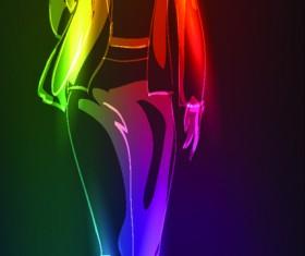 Set of Girl model drawing neon light vector 02