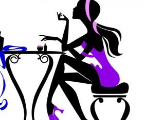 Stylish glamour Girls design elements vector 04