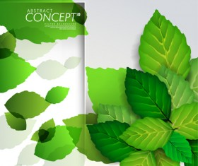 Green leaves design elements cards vector 03