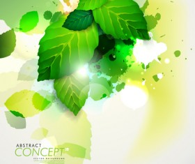 Green leaves design elements cards vector 04