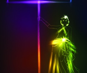 Set of Ornate neon light fashion model vector 01