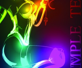 Set of Ornate neon light fashion model vector 04