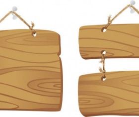 Set of Wooden tags elements vector 03
