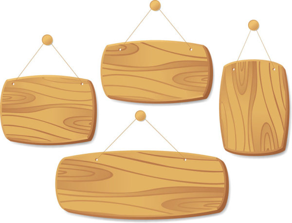 Set of Wooden tags elements vector 04