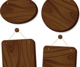 Set of Wooden tags elements vector 05