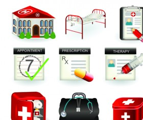 Set of Medicine elements icons vector 03