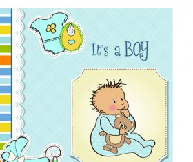 Girls and boys baby vector cards 01