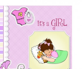 Girls and boys baby vector cards 02