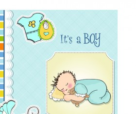Girls and boys baby vector cards 03