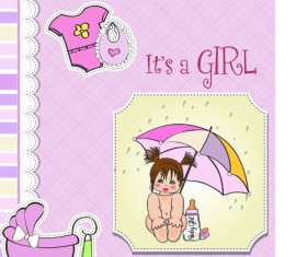 Girls and boys baby vector cards 04
