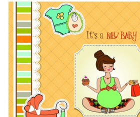 Girls and boys baby vector cards 05