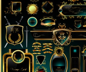 Set of Royal gold banner and luxury label vector 02