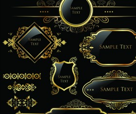 Set of Royal gold banner and luxury label vector 03