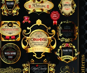 Set of Royal gold banner and luxury label vector 04