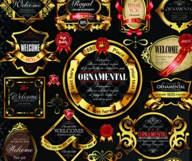 Set of Royal gold banner and luxury label vector 05