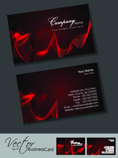 Set of Elegant Business Cards Vector 01