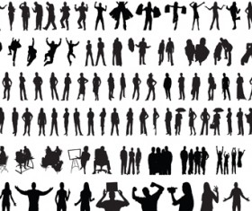 Set of people Silhouettes vector