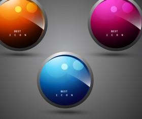 Shiny 3d Creative icon vector 02