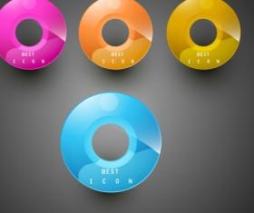 Shiny 3d Creative icon vector 03