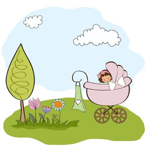 Spring cute Baby cards vector 01