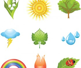 Sunshine,Leaves,Lightning,Raindrop and Rainbow vector set