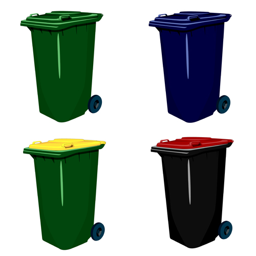 Colorful trash can vector 04