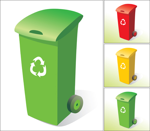 Colorful trash can vector 05
