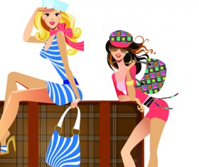 Stylish traveler girls vector 02