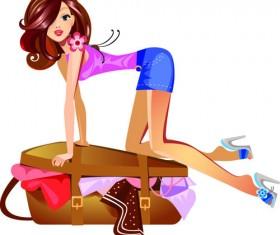 Stylish traveler girls vector 03