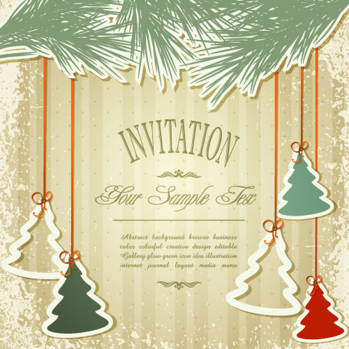 Set of Christmas design vector background 03