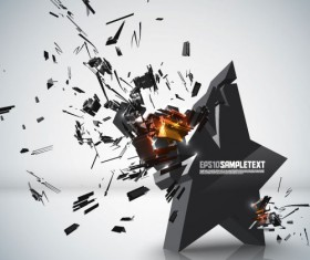 Set of Explosion 3D Graphics background vector 01