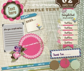 Set of cute Pink Label Stickers vector 01